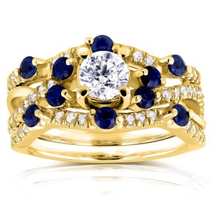 Gold 1 1/3ct TCW Diamond and Blue Sapphire Double Bands Bridal Set - Custom Made By Yaffie™