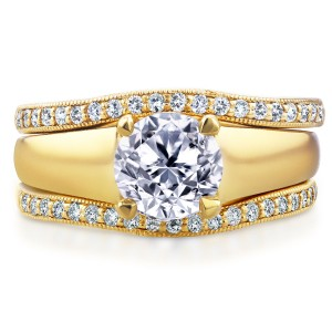 Gold 1 1/3ct TDW Bridal Set Round Diamond Solitaire with Double Diamon - Custom Made By Yaffie™
