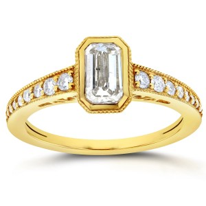 Gold 1 1/4ct TDW Emerald Cut Diamond Antique Ring - Custom Made By Yaffie™