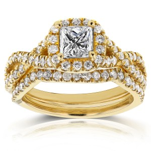 Gold 1 1/5ct TDW Princess Diamond Halo Crossover Double Band Bridal Ri - Custom Made By Yaffie™
