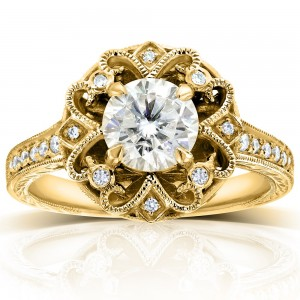 Gold 1 1/5ct TGW Forever One DEF Moissanite and Diamond Antique Floral Extravagant Engagement Ring - Custom Made By Yaffie™