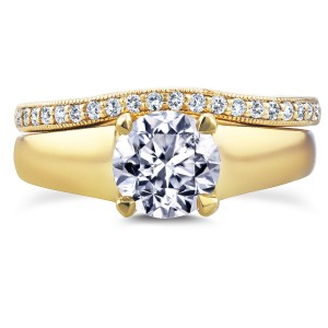 Gold 1 1/6ct TDW Round Diamond Solitaire and Diamond Wedding Band Brid - Custom Made By Yaffie™