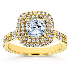 Gold 1 3/4ct TDW Diamond Double Halo Engagement Ring - Custom Made By Yaffie™