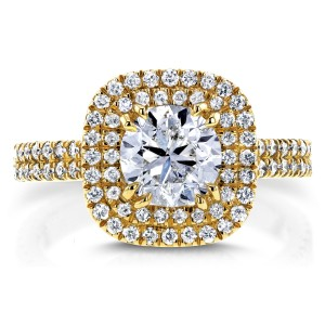 Gold 1 3/4ct TDW Diamond Round Double Halo Engagement Ring - Custom Made By Yaffie™