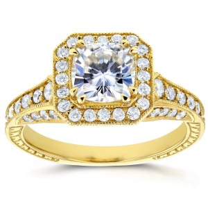 Gold 1 3/4ct TGW Cushion Moissanite and Profile-set Diamonds Statement Engagement Ring - Custom Made By Yaffie™
