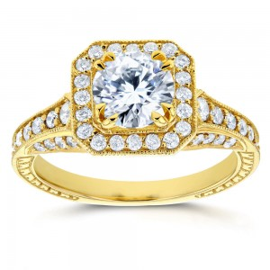 Gold 1 3/5ct TDW Round Diamond Milgrain Halo Vintage Style Engagement - Custom Made By Yaffie™