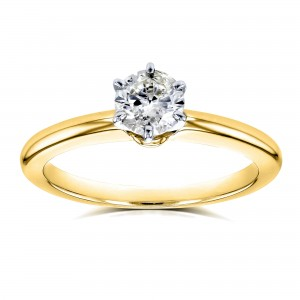 Gold 1/2ct Solitaire Diamond Petite Engagement Ring - Custom Made By Yaffie™
