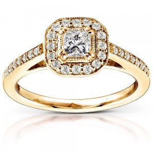 Gold 1/2ct TDW Diamond Halo Engagement Ring - Custom Made By Yaffie™