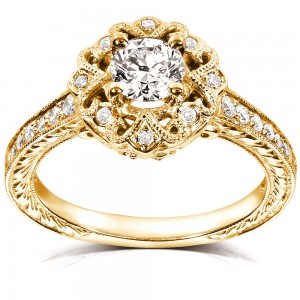 Gold 1/2ct TDW Floral Vintage Diamond Engagement Ring - Custom Made By Yaffie™