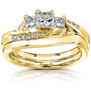Gold 1/2ct TDW Princess Diamond Curved Three Stone Bridal Ring Set - Custom Made By Yaffie™