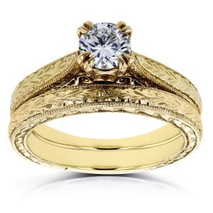 Gold 1/2ct TDW Round Diamond Vintage Bridal Set - Custom Made By Yaffie™