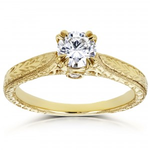 Gold 1/2ct TDW Round Diamond Vintage Engagement Ring - Custom Made By Yaffie™