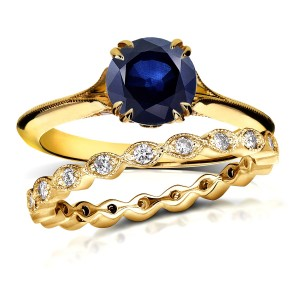 Gold 1ct Blue Sapphire and 2/5ct TDW Diamond Floral Antique Eternity B - Custom Made By Yaffie™