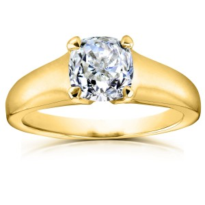 Gold 1ct Cushion Diamond Solitaire Engagement Ring - Custom Made By Yaffie™