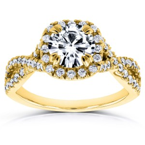 Gold 1ct DEF Moissanite and 1/2ct TDW Diamond Crossover Ring - Custom Made By Yaffie™