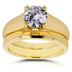 Gold 1ct Round Diamond Solitaire Bridal Set - Custom Made By Yaffie™