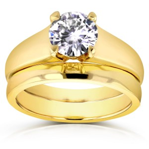 Gold 1ct Round Moissanite Classic Solitaire Bridal Set - Custom Made By Yaffie™