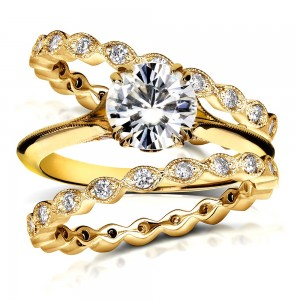 Gold 1ct Round Moissanite and 3/4ct TDW Diamond Floral Antique Double - Custom Made By Yaffie™