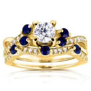Gold 1ct TCW Diamond and Blue Sapphire Bridal Set - Custom Made By Yaffie™