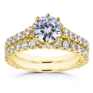 Gold 2 1/10ct TCW Round Moissanite and Diamond 8-Prong Standing Halo Bridal Rings - Custom Made By Yaffie™