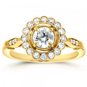 Gold 3/4ct TDW Round Diamond Antique Floral Engagement Ring - Custom Made By Yaffie™