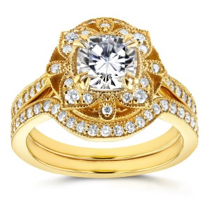 Gold Cushion Moissanite and 1/2ct TDW Diamond 2-Piece Floral Antique B - Custom Made By Yaffie™