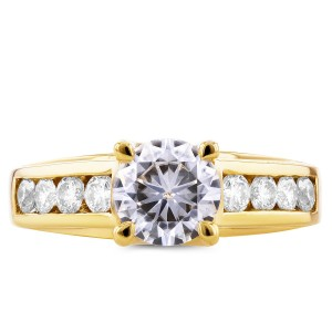 Gold Forever Brilliant Moissanite and 1/2ct TDW Diamond Channel Band E - Custom Made By Yaffie™
