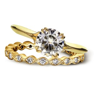 Gold Forever One Moissanite and 2/5ct TDW Diamond Blooming Flower 2-Pi - Custom Made By Yaffie™