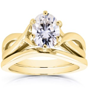 Gold Oval 1 1/2ct Forever One DEF Moissanite Solitaire Bridal Set - Custom Made By Yaffie™