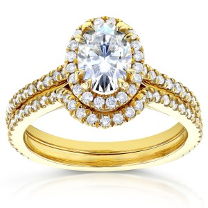 Gold Oval Moissanite and 1/2ct TDW Diamond Halo Bridal Set - Custom Made By Yaffie™
