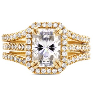Gold Radiant Cut Moissanite and 3/5ct TDW Halo Diamond 3-Piece Bridal - Custom Made By Yaffie™