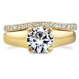 Gold Round Cut Moissanite Solitaire and 1/6ct TDW Diamond Band Bridal - Custom Made By Yaffie™