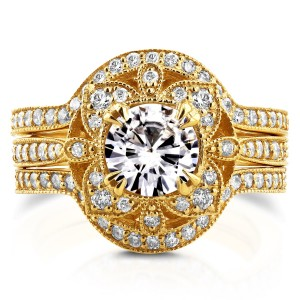 Gold Round Moissanite and 5/8ct TDW Diamond 3-Piece Floral Antique Bri - Custom Made By Yaffie™