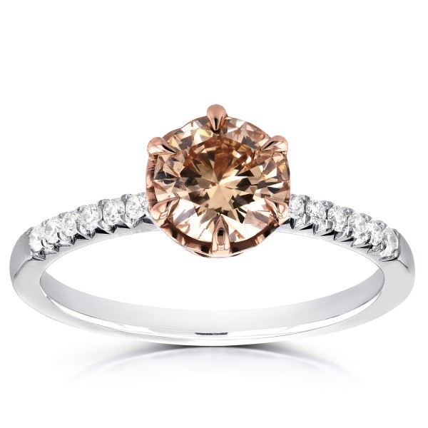 Two Tone Gold 1 1/8ct TDW Champagne Brown and White Diamond Ring - Custom Made By Yaffie™