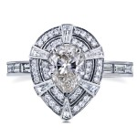 White Gold 1 7/8ct TDW Vintage Victorian Teardrop Diamond Engagement Ring - Custom Made By Yaffie™