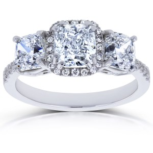 White Gold Certified 2 4/5ct TDW Diamond Cushion Halo 3 Stone Engagement Ring - Custom Made By Yaffie™