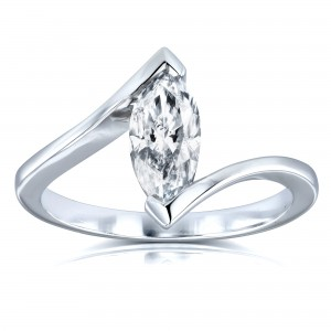 Certified White Gold 1ct Marquise Diamond Chevron Solitaire Engagement Ring - Custom Made By Yaffie™
