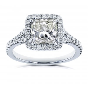 Certified White Gold 2 4/5ct TDW Princess Diamond Halo Engagement Ring - Custom Made By Yaffie™