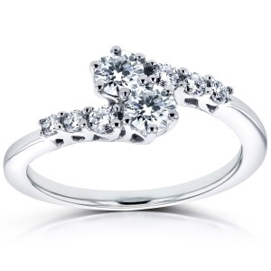 Two White Gold 1/2ct TDW Diamond Two-Stone Prong Set Curved Ring - Custom Made By Yaffie™