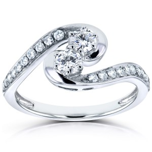 Two White Gold 1/2ct TDW Diamond Two-Stone Swirl Curved Ring - Custom Made By Yaffie™