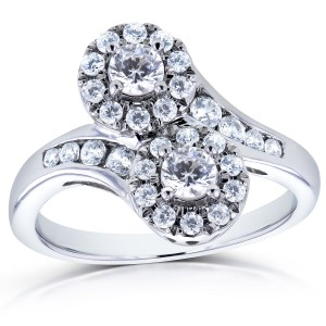 Two White Gold 1ct TDW Diamond Two-Stone Curved Ring - Custom Made By Yaffie™