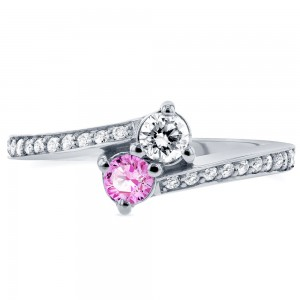 Two White Gold Pink Sapphire and 1/3ct TDW Diamond Two-Stone Ring - Custom Made By Yaffie™