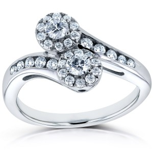 Two Collection White Gold 1/2ct TDW Diamond Two-stone Curved Ring - Custom Made By Yaffie™