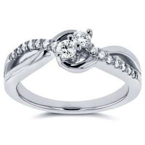 Two Collection White Gold 1/4ct TDW Diamond Two-Stone Ring - Custom Made By Yaffie™