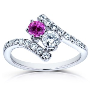 Two Collection White Gold 1ct TCW Sapphire and Diamond 2-Stone Curved Ring - Custom Made By Yaffie™