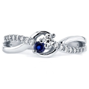 Two Collection White Gold Blue Sapphire and 1/6ct TDW Diamond 2-stone Ring - Custom Made By Yaffie™