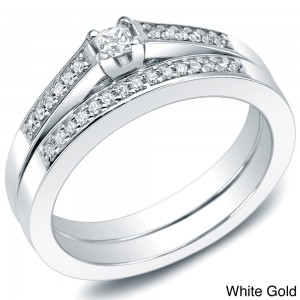 Gold 1/4ct TDW Princess Diamond Bridal Ring Set - Custom Made By Yaffie™