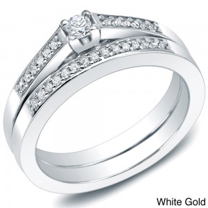 Gold 1/4ct TDW Round Diamond Bridal Ring Set - Custom Made By Yaffie™