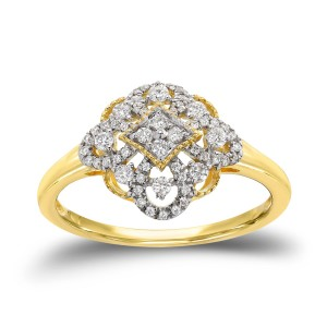 Gold 1/4ct TDW Vintage Inspired Edwardian Era Diamond Ring - Custom Made By Yaffie™