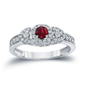 Gold 1/5ct Ruby and 1/3ct TDW Diamond Engagment Ring - Custom Made By Yaffie™